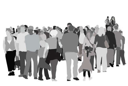 large pedestrian group vector illustration Vector