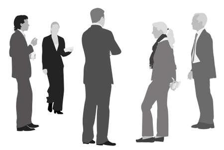 formalwear: colegas tomando un descanso ilustraci�n vectorial  Vectores