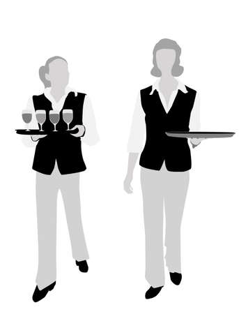 barmaid: two waitresses carrying platters vector illustration
