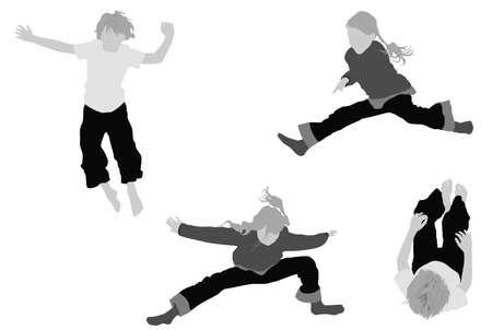 ni�o saltando: los ni�os y ni�as saltando  Vectores