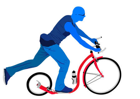 blue man riding red kickbike scooter Vector