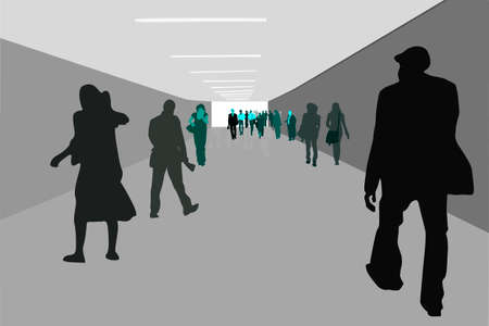 underground passage: people walking in an underground  passage