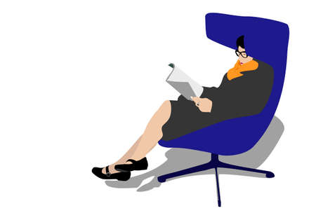 women in waiting room  reading magazine  Stock Vector - 3239657