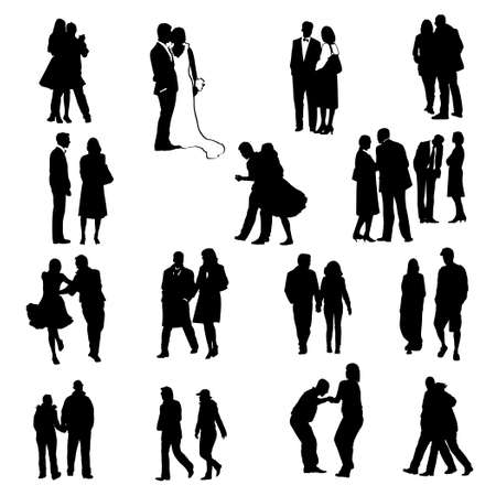танцоры: couples silhouettes - collection of vector illustrations