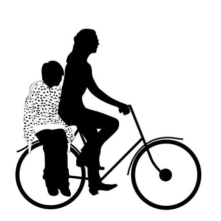 mother with child riding bicycle silhouette Vector