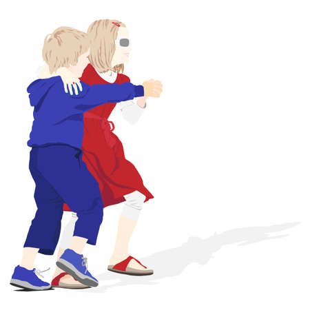 brother and sister dancing vector illustration Vector
