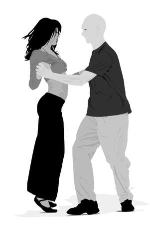 sexual couple:  couple dancing  gray-scale vector illustration