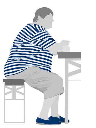 fat body: illustration of obese woman eating