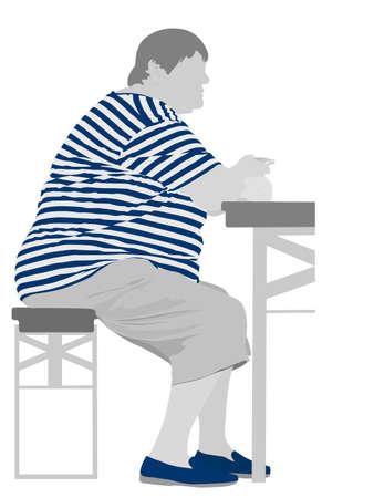 przewymiarowany: ilustracja otyła kobieta jedzenie