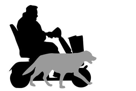 vergezeld: senior rijden mobiliteit scooter, vergezeld door zijn hond Stock Illustratie