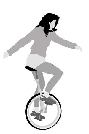 circus artist: young girl riding unicycle, vector illustration Illustration