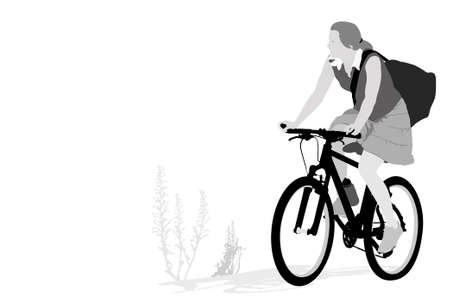 female triathlon runner vector illustration     Illustration