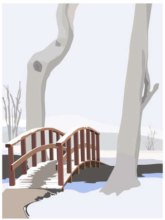 footbridge: winter idyll, color vector illustration Illustration