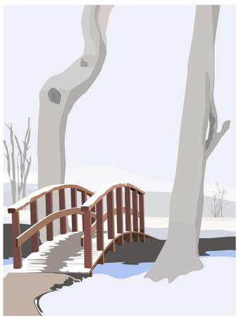 vlonder: winterse idylle, kleur vector illustration