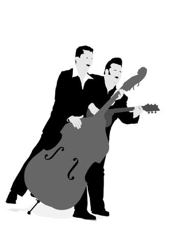 duo: two musicians playing and singing Illustration