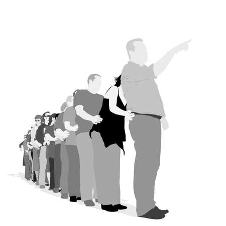 waiting in line: people holding each other  while staying in line, vector illustration