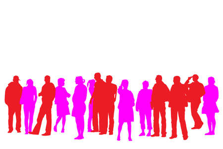 large group of casual people silhouette Stock Vector - 3422106