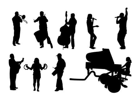 musician silhouettes, collection for designers Stock Vector - 3474089
