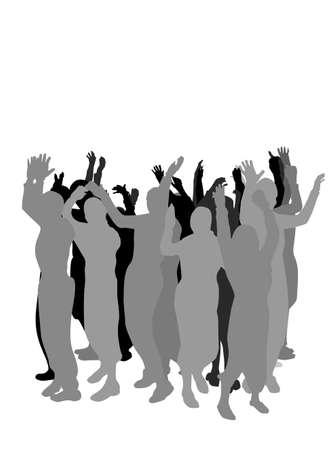 bras lev�: groupe de personnes, agitant la main