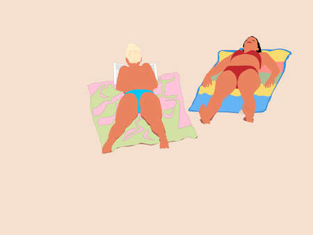 vector  illustration of  two young women sunbathing Vector