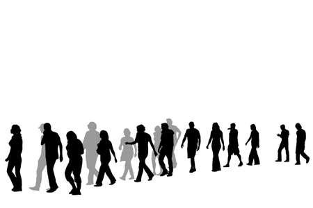 caminando: personas que caminan en l�nea, ilustraci�n vectorial