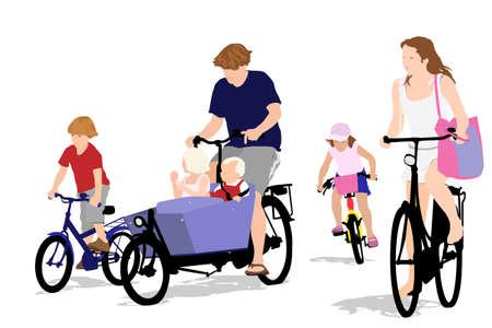 frau ganzk�rper: gro�e Familie Radfahren, Farbe Version Illustration