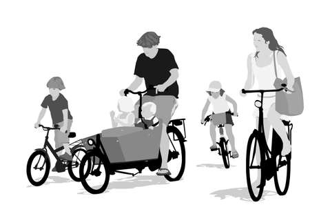 big family bicycling ,grayscale version