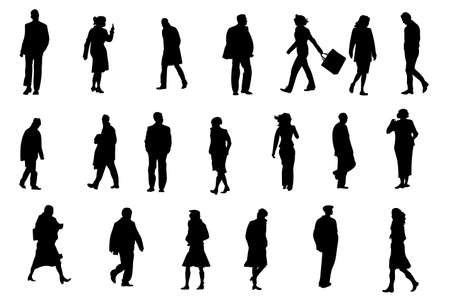 ordinary people silhouettes, vector collection for designers Vector
