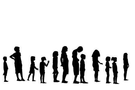 queue of people: children on vacations standing in line  Illustration