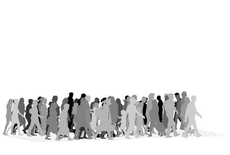 grayscale: urban crowd,vector grayscale illustration