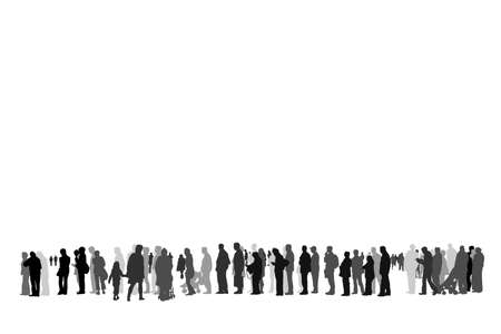 fila de espera: personas esperando en la cola silueta vector