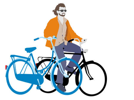 young man with two bicycles  and headphones Vector