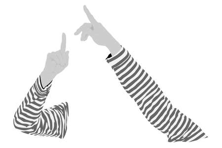 two  human's arms pointing vector illustration