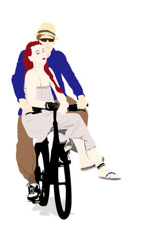 young loving couple cycling Vector