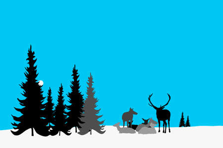 snowy landscape with deer herd resting Vector