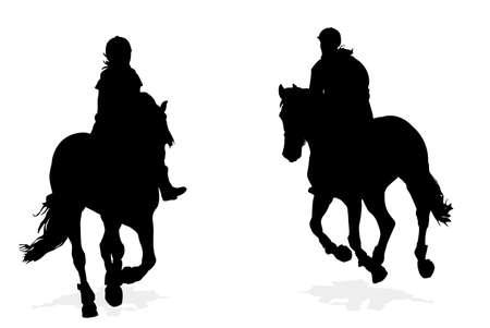 two girl horseback riding silhouettes   Illustration