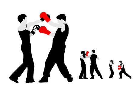 girl and boy boxing, vector illustrations Vector
