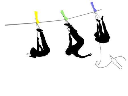 Menschen hängen an einem Seil