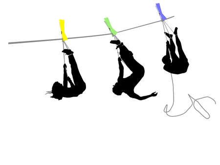 people hanging on a rope Vector