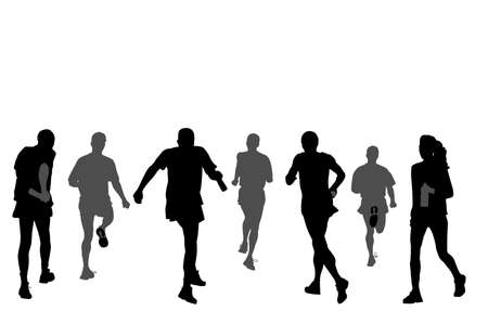 group of marathon runners,   rear view Vector