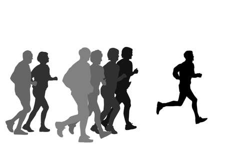 group of marathon runners,profile Vector