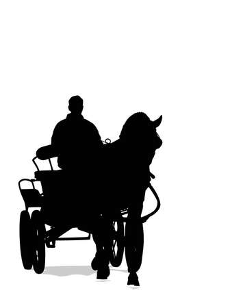 horse cart: horse and carriage, vector silhouette