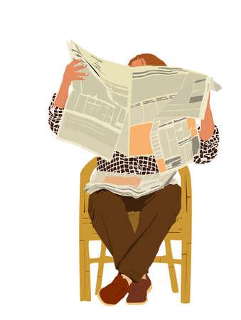 man reading newspaper Stock Vector - 3760096