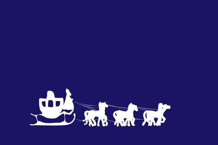 Santa arriving on a horse drawn sleigh illustration Vector