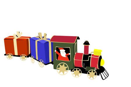 Santa claus arriving by train Vector