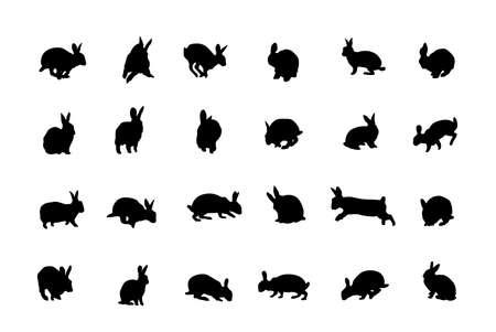 siluetas de conejos, la colección de los diseñadores Foto de archivo - 3773150