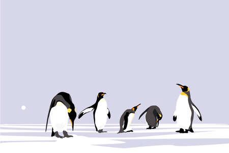 Emperor Penguins, easy editable vector collection Ilustrace