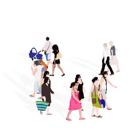 top view of group of people walking Vector