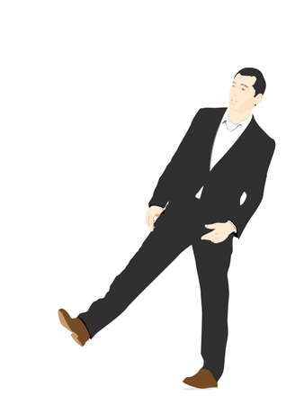 confound: vector illustration of  young businessman amazed Illustration