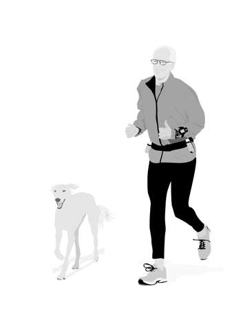 senior jogging with his dog Stock Vector - 3813525